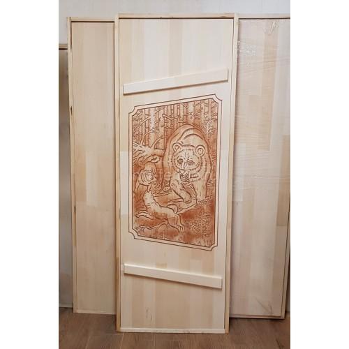 """Дверь для бани (массив липы) """"Медведь"""""""