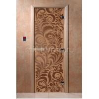 """Дверь для бани """"Хохлома бронза матовая"""" (стекло)"""