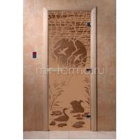 """Дверь для бани """"Лебединое озеро бронза матовая"""" (стекло)"""