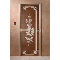 """Дверь для бани """"Розы бронза"""" (стекло)"""